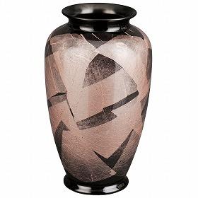 花瓶 九谷焼 銀彩 つつじ 8号 高さ25.2cm