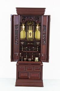 伝統型仏壇 蔵王 16号 紫檀杢 大引き付 高145×幅56×奥50cm
