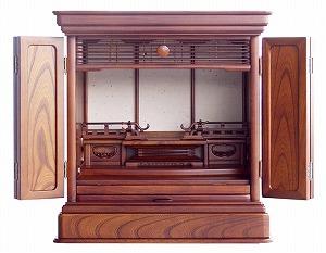 伝統型仏壇 ミニ 吾妻 18号 けやき 高55.5×幅53×奥38cm