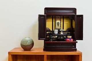 伝統型仏壇 ミニ 利尻 16号 紫檀調 仏壇セット