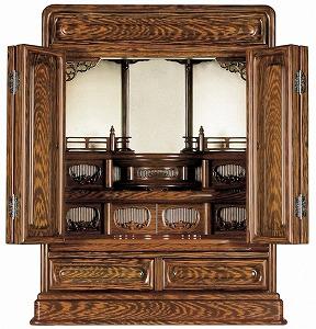 伝統型仏壇 ミニ 摩耶 18号 鉄刀木調 高56×幅48×奥行32cm