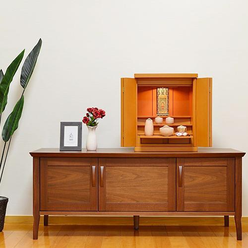 モダン仏壇 ミニ クルミ ライト色 16号 本尊付き 仏壇セット