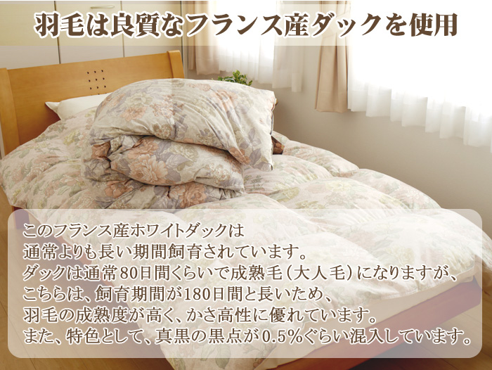 Down quilt futon single/twin size : 150x210cm 90% French white duck down 360dp made in Japan