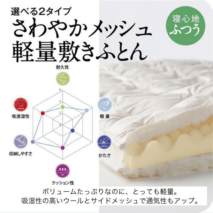 【東京西川産業】SLEEPcomfy スリープコンフィ さわやかメッシュ軽量敷き布団 レギュラータイプ サイズ:シングルサイズ(100×210cm) 日本製