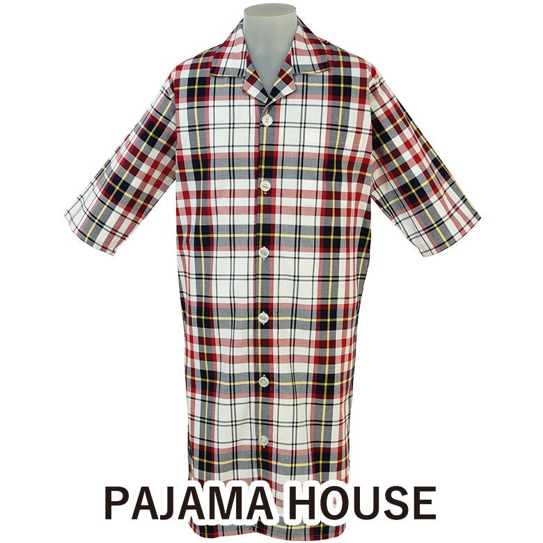 【pajama house】パジャマハウス 先染マドラスチェック七分袖メンズスリーパー 男性用 カラー:レッド (日本製) 前開きタイプ 羽織り 寝間着 綿100% パジャマ・ナイトウェア 男女兼用 プレゼント 父の日 ホテルパジャマ【あす楽対応】 バレンタイン