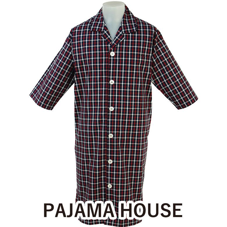 七分袖メンズスリーパー 【pajama house】パジャマハウス ダブルタッターソール 前開き 男性用 カラー:ネイビー 日本製 前開きタイプ 羽織り 寝間着 コットン100% パジャマ・ナイトウェア 父の日 男女兼用 プレゼント