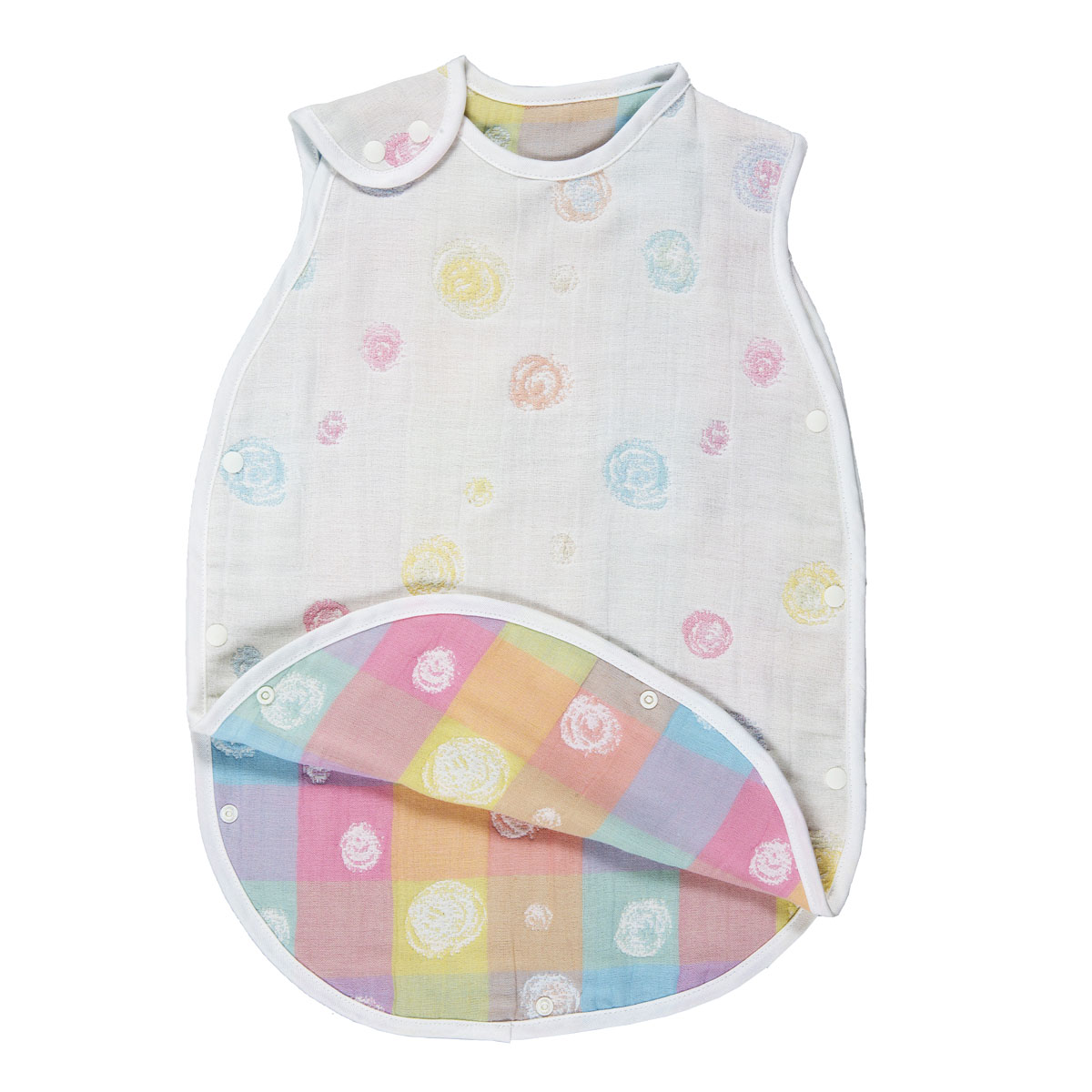 Fujiki cotton 100% gauze made in six folds of gauze sleeper (kids - youth)  dots colorful Japan