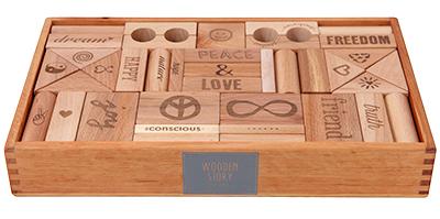 【100%天然素材の積み木や木製玩具】ピース&ラブ・ブロック<72ピース>対象年齢:1歳~Wooden Story<ウドゥン・ストーリー>【楽ギフ_メッセ入力】