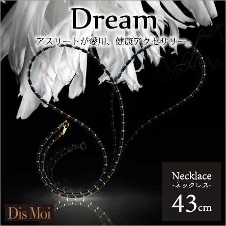 【 ポイント10倍 】 Dis Moi Dream ディモアドリーム ネックレス43cm K18WG or K18YG 【健康ジュエリー 健康アクセサリー アクセサリー ブラックシリカ 健康ネックレス】