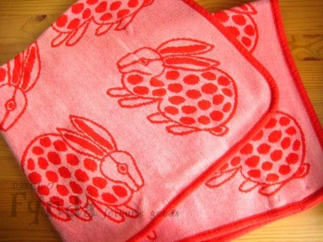 クリッパン×リサラーソンのコラボ うさぎ Usagi コットン ミニ ブランケット ピンク Klippan ウサギ 北欧 ひざかけ 北欧雑貨 プレゼント ギフト お祝い 出産祝い