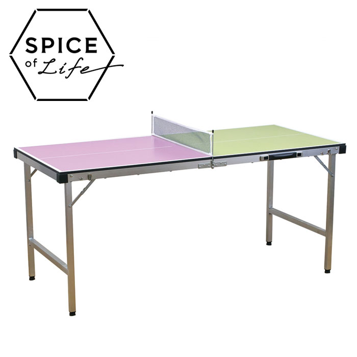 SPICE OF LIFE バカンス バイカラー キャリー卓球台セット ピンク×イエローグリーン SFVT1801