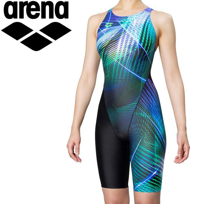 アリーナ 水泳 セイフリーバックスパッツ 着やストラップ 競泳 水着 レディス FAR-9561W-BKGN