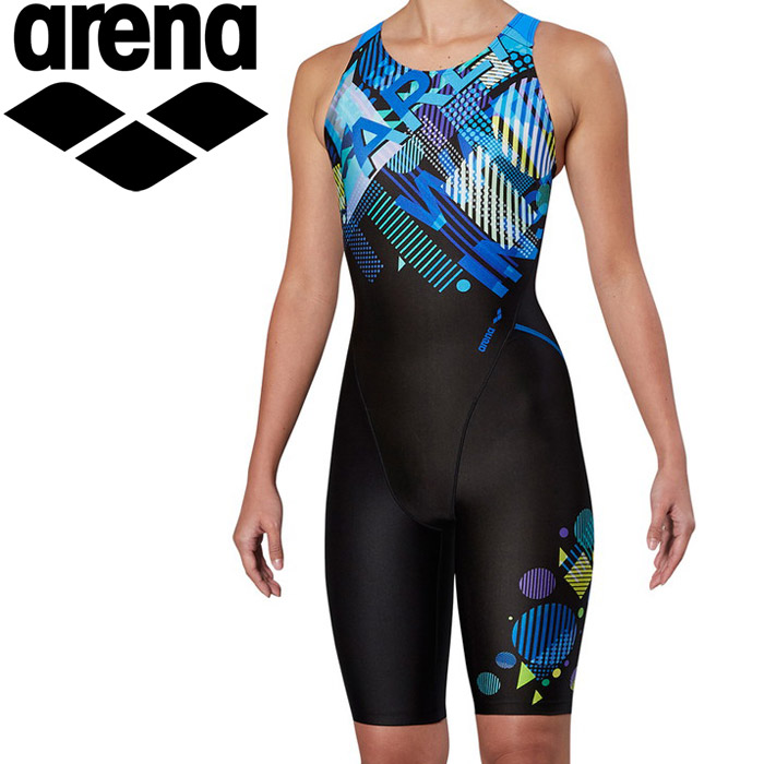 アリーナ 水泳 サークルバックスパッツ ひっかけフィットパッド 着やストラップ フィットネス 水着 レディス FLA-9905W-BLU 《返品不可》