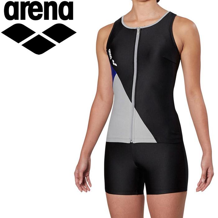 アリーナ 水泳 大きめカラースナップ付きHASSUIセパレーツ ぴったりパッド フィットネス 水着 レディス FLA-9935W-BKGY 《返品不可》