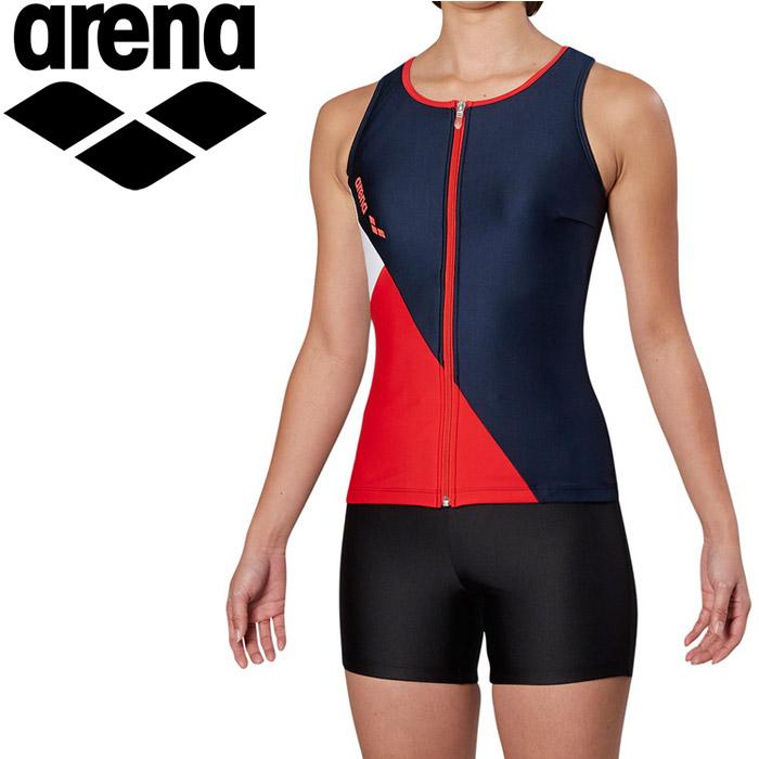 アリーナ 水泳 大きめカラースナップ付きHASSUIセパレーツ ぴったりパッド フィットネス 水着 レディス FLA-9935W-NVRD 《返品不可》