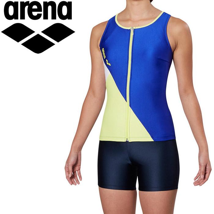アリーナ 水泳 大きめカラースナップ付きHASSUIセパレーツ ぴったりパッド フィットネス 水着 レディス FLA-9935W-ROYE 《返品不可》