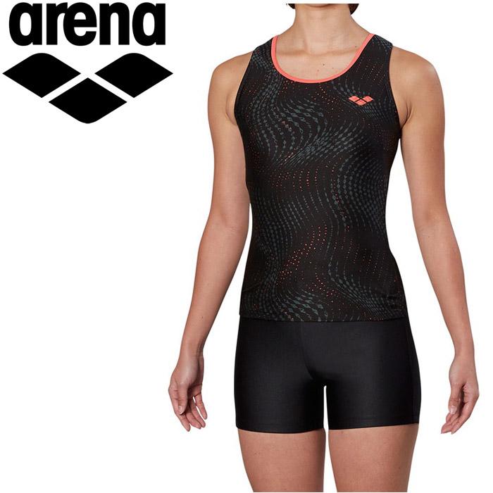 アリーナ 水泳 大きめカラースナップ付きHASSUIセパレーツ ぴったりパッド フィットネス 水着 レディス FLA-9938W-BKRD 《返品不可》