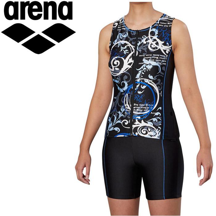アリーナ 水泳 大きめカラースナップ付きセパレーツ 差し込みフィットパッド フィットネス 水着 レディス FLA-9939W-BLU 《返品不可》