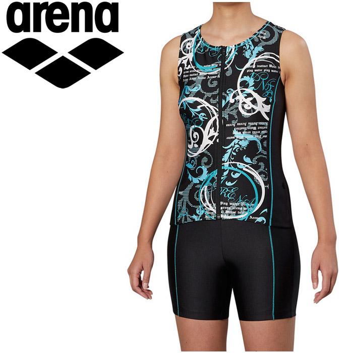 アリーナ 水泳 大きめカラースナップ付きセパレーツ 差し込みフィットパッド フィットネス 水着 レディス FLA-9939W-GRN 《返品不可》