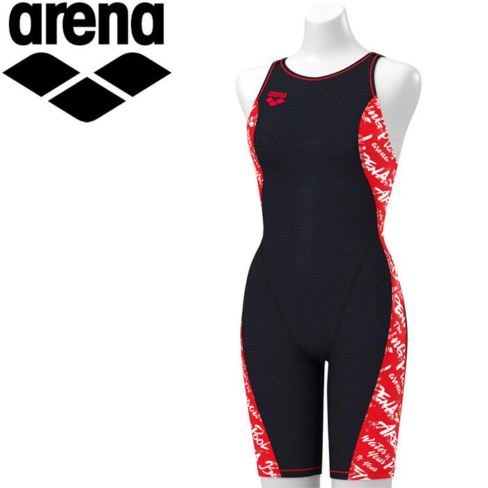 アリーナ 水泳 タフハーフスパッツ 着やストラップ トレーニング 水着 レディス FSA-9623W-BKRD 《返品不可》