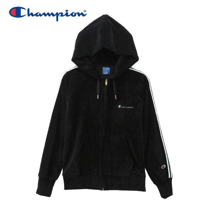 チャンピオン ジップフードジャケット ベロア レディース CW-QS104-090 19FW