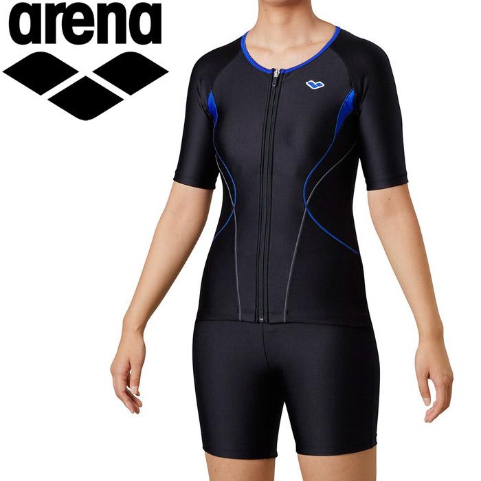 アリーナ 水泳 大きめカラースナップ付きセパレーツ(差し込みフィットパッド) レディス LAR-0242WE-BKRO