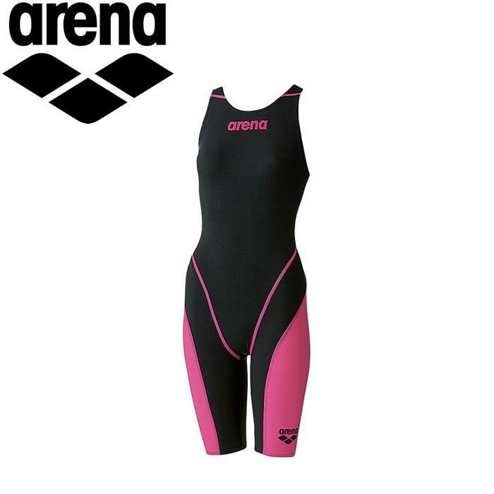 アリーナ 水泳 競泳水着 レーシング レディース ハーフスパッツオープンバック ARN7010W-BKPK