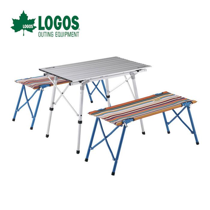 LOGOS ロゴス オートレッグベンチテーブルセット4(ストライプ) 73188001 4人用ベンチ付きテーブルセット