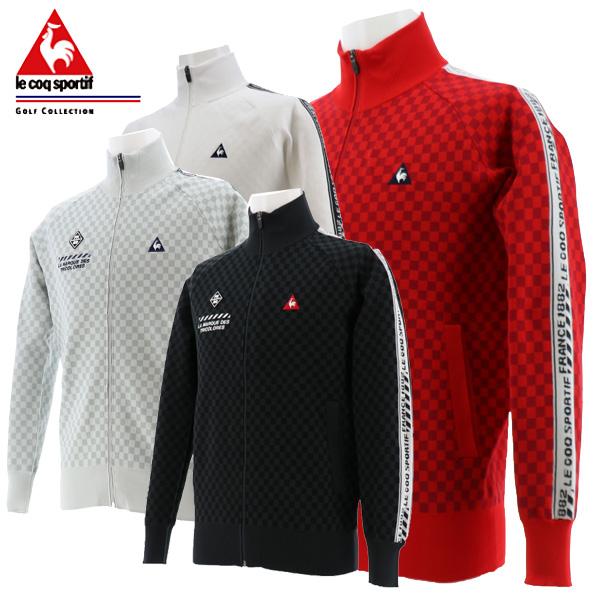 ルコック ゴルフウェア メンズ シャドー市松フルジップセーター 長袖セータージャケット QGMPJL03 2020春夏