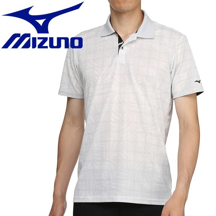 ミズノ ゴルフ プリントチェック柄半袖シャツ ポロ衿 メンズ 52MA901203