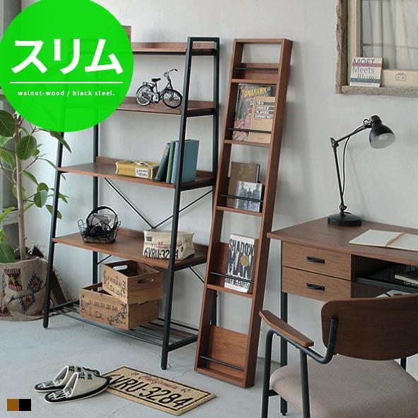 quality design a4744 a960e Rack shelf magazine rack magazine stand Walnut wood steel width 30 cm  fashionable slim gap gap ladder shelf storage Nordic modern simple home  decor, ...