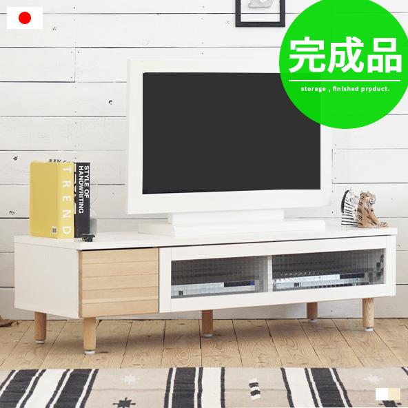 テレビ台 ローボード 完成品 おしゃれ 北欧 白 ホワイト 木製 無垢材 32型 40型 テレビボード tv台 tvボード リビング収納 リビングボード ナチュラル モダン かわいい コンパクト 120幅 幅120cm 脚付き ガラス 日本製