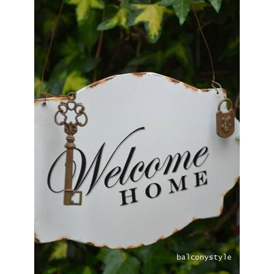 信憑 SALENEW大人気! 鍵と錠がついたホウロウ風ウェルカムプレート オールドキーウェルカムプレート ガーデニング