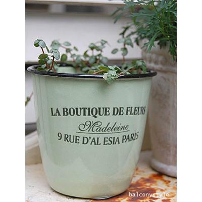 新登場 パリのお花屋さん風ロゴの入ったホウロウ製ポットカバー エナメルポット-フルール グリーン 鉢 ◆高品質 ガーデニング 植木鉢