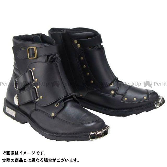 送料無料 弐黒堂 ニコクドウ ライディングブーツ WBBN-02 スピードライドジッパーブーツ 兼光(ブラック) 25