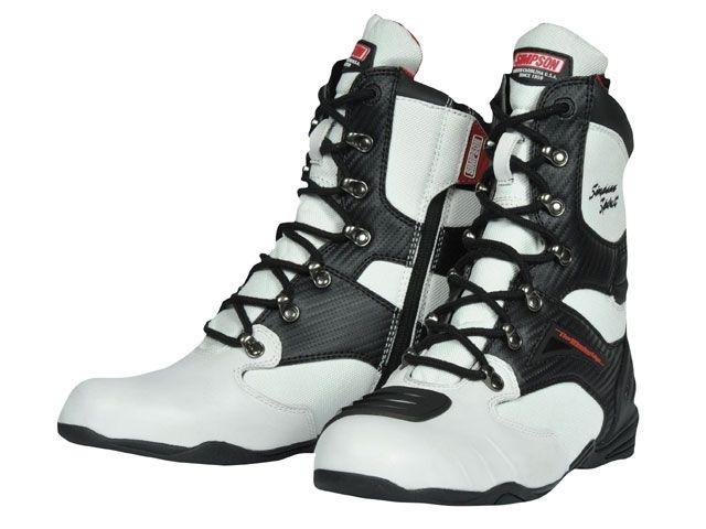 送料無料 シンプソン SIMPSON ライディングブーツ SPB-201 Riding Boots ホワイト 25.0cm
