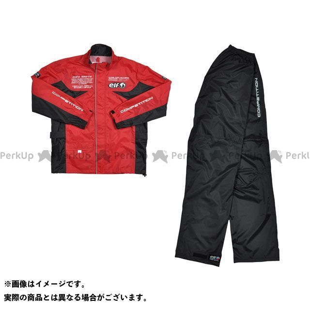 送料無料 elf riding wear エルフ ライディングウェア レインウェア ELR-3291 Rain Suit レッド L