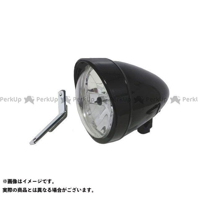 ガレージT&F スティード400 ヘッドライト・バルブ 5.75インチロケットライト(ブラック)&ライトステー(タイプD) キット