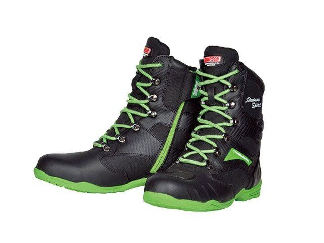 送料無料 シンプソン SIMPSON ライディングブーツ SPB-201 Riding Boots ブラック&グリーン 26.0cm