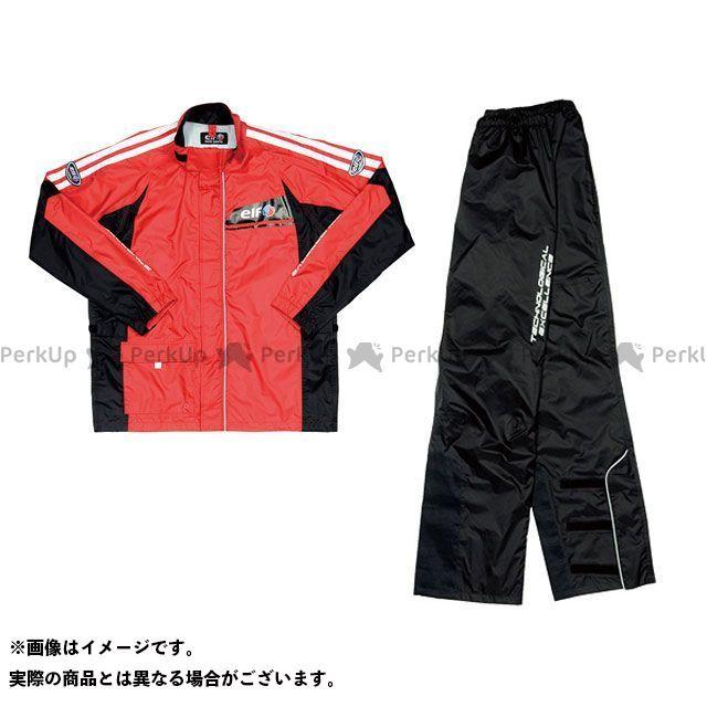 elf riding wear ELR-5291 Rain Suit(ブラック) レッド LL エルフ ライディングウェア