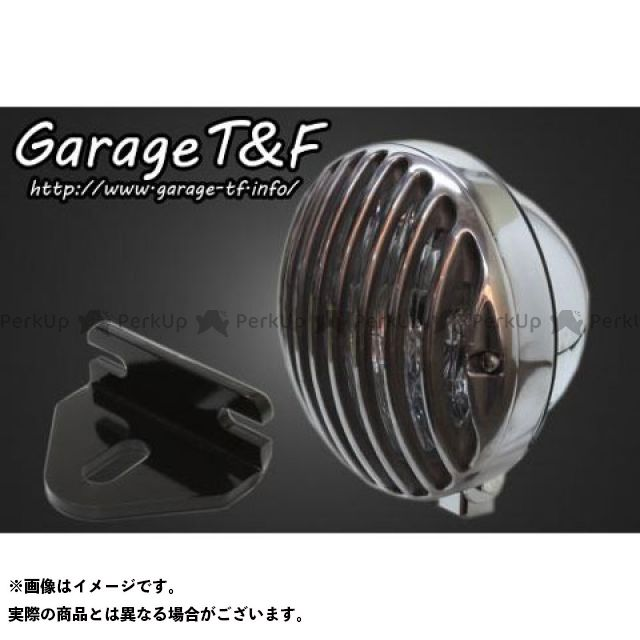 5.75インチバードゲージヘッドライト&ライトステー(タイプE)キット T&F 【エントリーで最大P23倍】ガレージT&F ヘッドライト:メッキ 250TR ゲージ:ポリッシュ