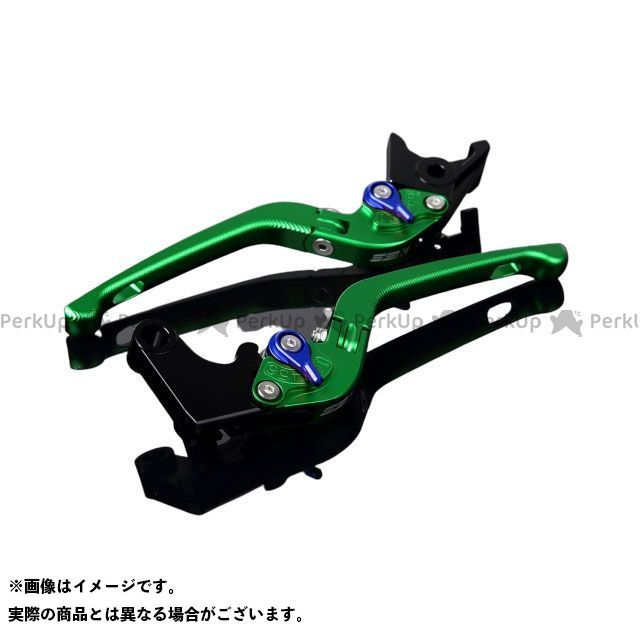 SSK CBR1000RRファイヤーブレード CBR600RR アルミビレットアジャストレバーセット 3D可倒式(レバー本体:マットグリーン) マットブルー