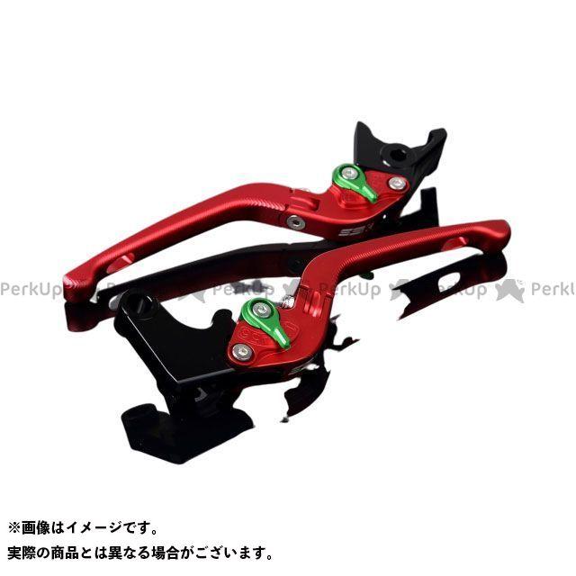 SSK ニンジャZX-14R アルミビレットアジャストレバーセット 3D可倒式(レバー本体:マットレッド) アジャスター:マットグリーン エスエスケー