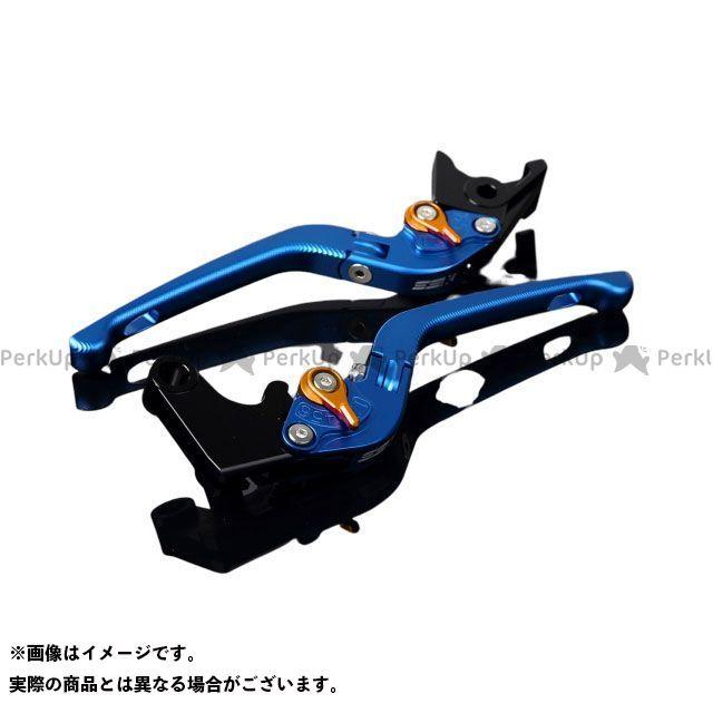 SSK MT-10 ナイケン トレーサー900・MT-09トレーサー アルミビレットアジャストレバーセット 3D可倒式(レバー本体:マットブルー) アジャスター:マットゴールド エスエスケー