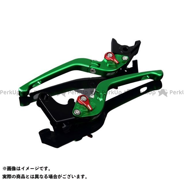 SSK GSX-R1000 GSX-R600 GSX-R750 アルミビレットアジャストレバーセット 3D可倒式(レバー本体:マットグリーン) マットレッド