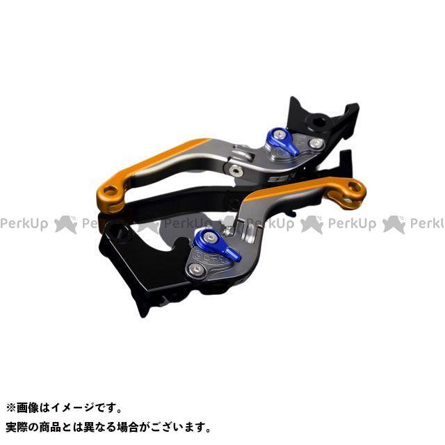 SSK FJR1300AS/A XT1200Zスーパーテネレ アルミビレットアジャストレバーセット 可倒延長式(レバー本体:マットチタン) アジャスター:マットブルー エクステンション:マットゴールド エスエスケー