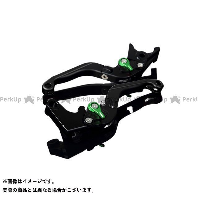 SSK MT-10 ナイケン トレーサー900・MT-09トレーサー アルミビレットアジャストレバーセット 可倒延長式(レバー本体:マットブラック) アジャスター:マットグリーン エクステンション:マットブラック エスエスケー