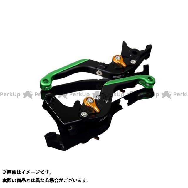 SSK YZF-R6 アルミビレットアジャストレバーセット 可倒延長式(レバー本体:マットブラック) アジャスター:マットゴールド エクステンション:マットグリーン エスエスケー