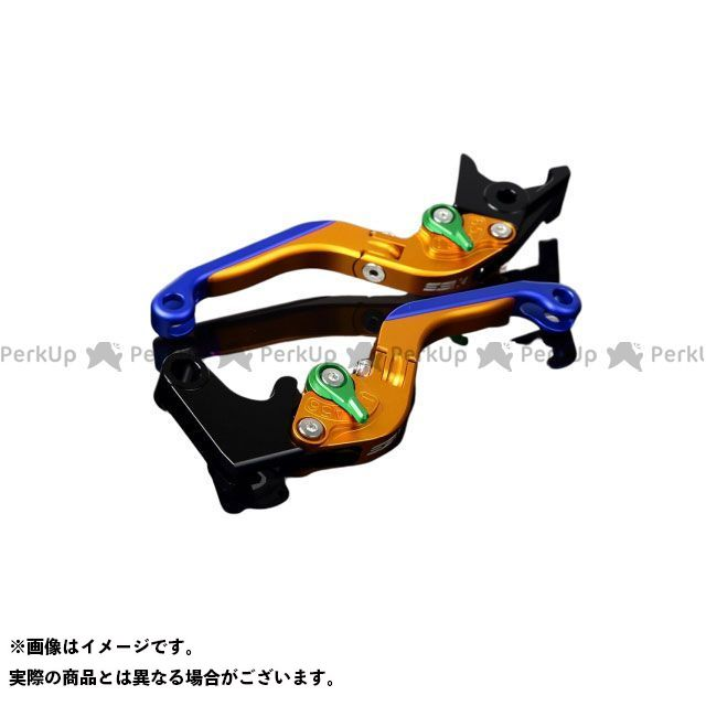 SSK YZF-R6 アルミビレットアジャストレバーセット 可倒延長式(レバー本体:マットゴールド) アジャスター:マットグリーン エクステンション:マットブルー エスエスケー