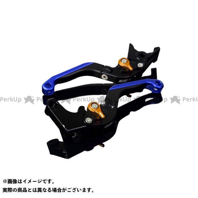 SSK GSX-R1000 GSX-R600 GSX-R750 アルミビレットアジャストレバーセット 可倒延長式(レバー本体:マットブラック) アジャスター:マットゴールド エクステンション:マットブルー エスエスケー